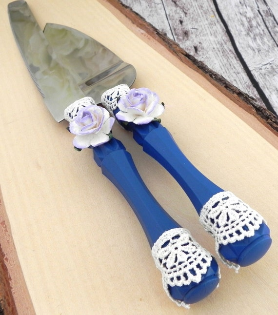 Wedding Cake Server and Knife Set, Navy Blue, Lilac and Ivory, Bridal Shower, Baby Shower, Wedding Gift