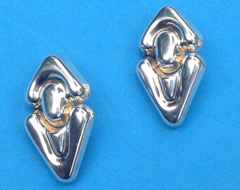 Vintage! Designer Alunno-Stendardi sterling silver dangling door knocker pierced earrings