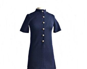 Vintage 70s Jonathan Logan navy blue dress/ preppy midnight blue mod shift dress/ Twiggy ribbed knit dress/ Petite