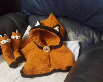 Fox Poncho with matching socks.