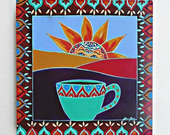 Sunrise During Coffee Original Folk Art Patining on a 8x8 Wood Panel titled Morning Rituals Happy Positive Art
