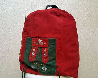 Big Red Leather Backpack - Backpack Purse - Upcycled Leather - Rucksack Bag