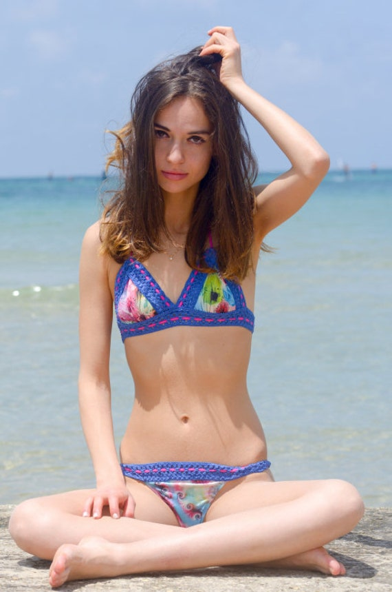 blue break set bikini sexy New summer bikini A bikini top Celebrity Triangle brazilian Swimwear bottom peacock swimsuit knitted AtnxPwq5B