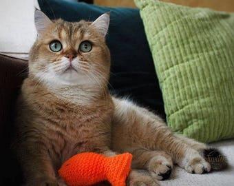 Catnip cat toy, hand knitted goldfish, cat accessories, handmade