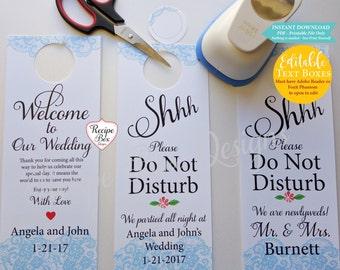 Door hanger template etsy wedding door hangers printable wedding sign solutioingenieria Image collections
