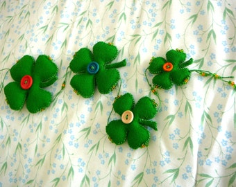 Lucky Shamrock Wall Hanging, Four-Leaf Clovert Mobile, Wool Shamrock Fabric Art