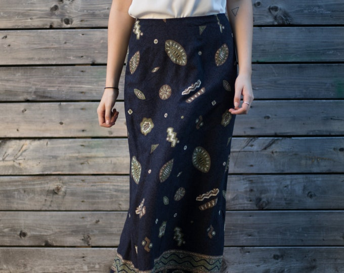 Vintage Paisley Skirt with Earthy Green, Brown, Blue / Summer Skirt / Beach, Cottage, City Attire / Boho Ornate Modern Eccentric