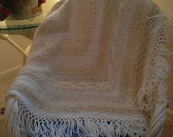 Natural Hand Knitted, All Wool Afghan Throw, Natural Non-Dyed combination of  Wool Yarns -  Made in Michigan - Diagonal Square Design
