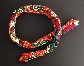 Headband hairband padded memory - adjustable and reversible patchwork wax #3