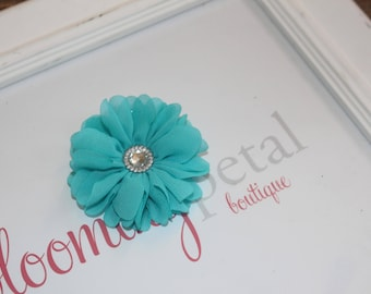 Turquoise Chiffon Rhinestone Flower Clip