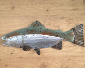 Trout Metal 30in Wall Fish Art Sculpture Lodge Cottage Lake Cabin