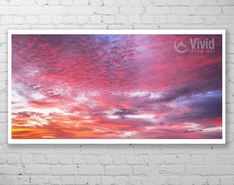 Sky Photography, abstract sky, panoramic art, cloud picture, framed sky picture, matted cloud photo, 16x32 12x24 8x16, red skies, sunset