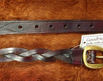 handmade plaited leather belt