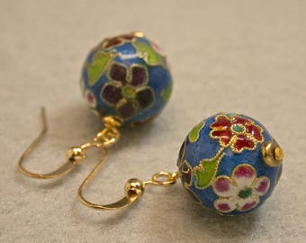 Vintage Chinese Teal Blue Champleve Cloisonné Enamel Bead Earrings Dangle Drop ,Gold Plated French Ear Wires - GIFT WRAPPED