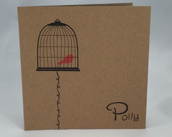 Bird Cage personalized set of 8 note cards