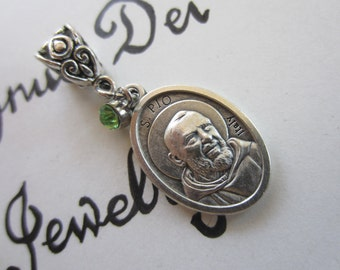 St Padre Pio Medal & Lt Green Glass Charm Pendant, Patron Saint for Pray Hope Don't Worry - Suffering - Pain - Healing, Religious Gift
