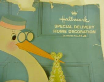 "25"" Stork Baby Shower Decor 1960's, Vintage Nursery Decor"