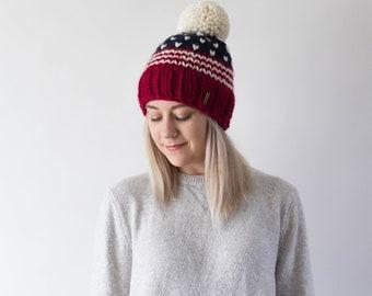 Fair Isle Patriotic Knit Pom Pom Ski Hat | THE OXFORD | USA American Flag