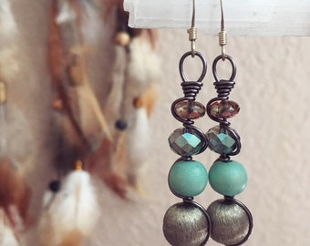 Upcycled Vintage Beads Wire Wrapped Earrings