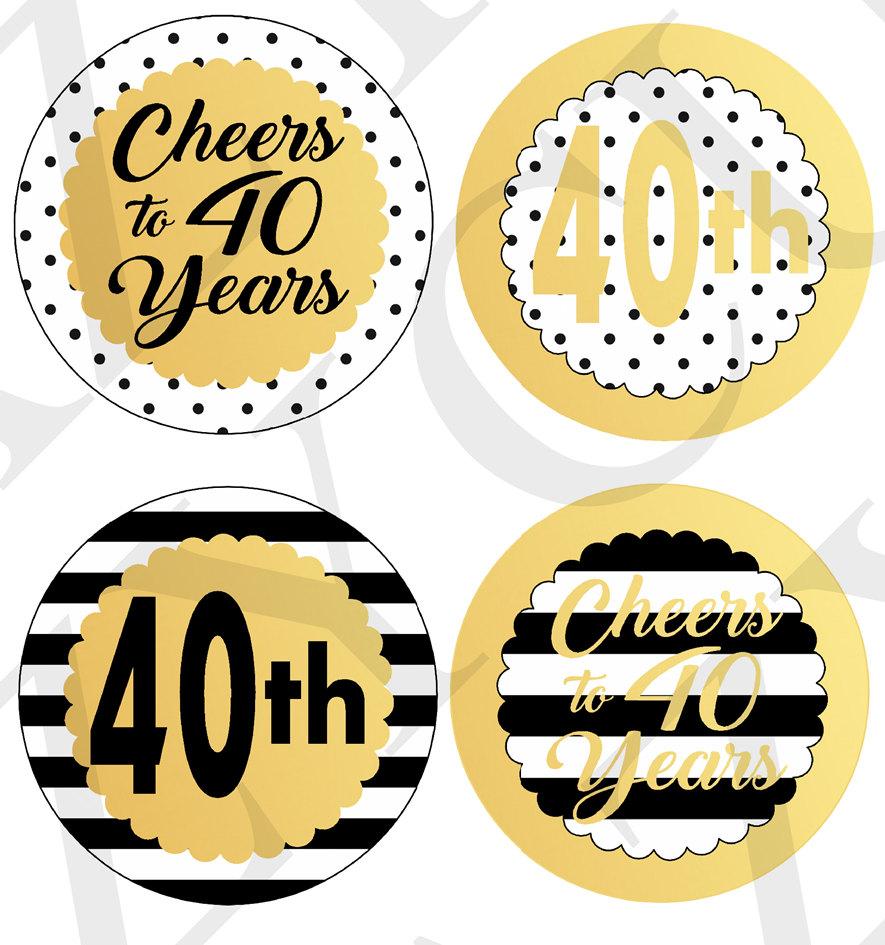 Cheers to 40 Years Centerpiece Picks Printable Centerpiece