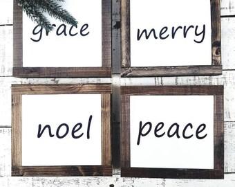 Mini Christmas signs/ mini signs/ handmade decor /wood signs/holiday signs/one word signs/farmhouse Christmas