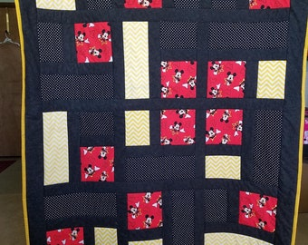 Mickey Mouse crib/toddler quilt, blanket, car seat, stroller cover/ activity, nap mat