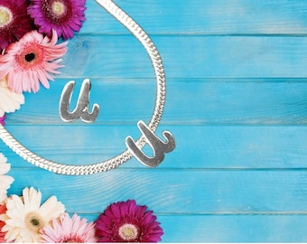 Lowercase 'u' Sterling Silver Charm Necklace With Gift Box