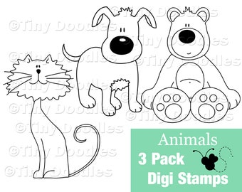 Digital Stamps Animal, Bear, Cat, Dog, Puppy, Kitty, Digistamps, Digi Stamps, Digital Download, Digital Art, Coloring, PNG, Animal Coloring