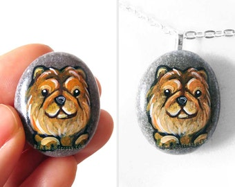 Chow Chow Dog Necklace, Pet Loss, Memorial Gift For Her, Handmade Jewelry, Hand Painted Pebble, Original Painting, Dog Owner