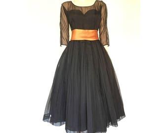 1950s ball gown, black chiffon | size 6
