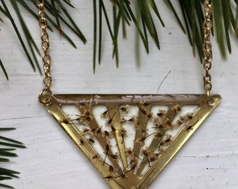Queen Anne's lace flower triangle brass necklace