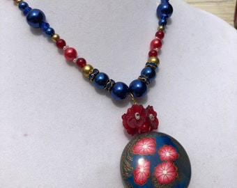 Polymer Clay bead China blue with pink flowers necklace