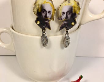 Albert Einstein Earrings   Imagination is more important than knowledge