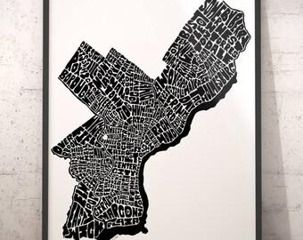 Philadelphia typography map, Philadelphia art print, map of Philadelphia, Philadelphia neighborhood map, Philadelphia map art downtown