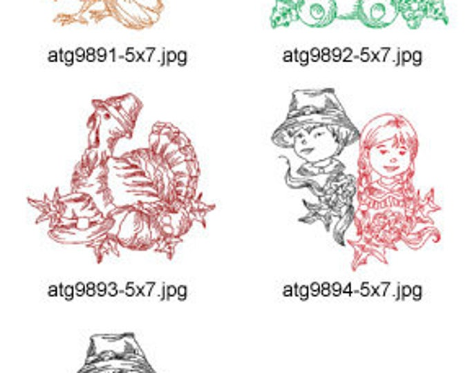 Thanksgiving-Redwork-1-5x7 ( 5 Machine Embroidery Designs from ATW ) XYZ17I