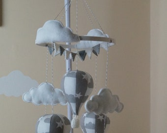Unisex musical Grey and white monochrome hot air balloon baby mobile