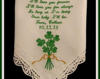 Personalized Embroidered Irish Theme Hankie w/Shamrock Bouquet