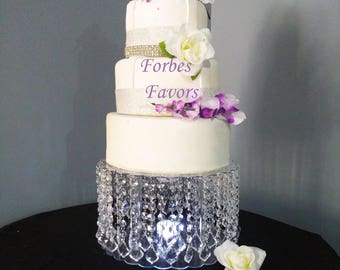 Deluxe French Pendant Drop Acrylic Crystal Cake Stand with LED Light