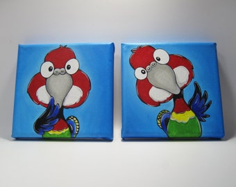 2 Original Paintings on Canvas, Eastern Rosella, Bird Caricature