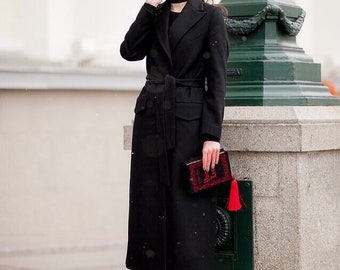 Black Coat Black Wool Coat Long Black Coat Black Wrap Coat Black Outwear Long Coat