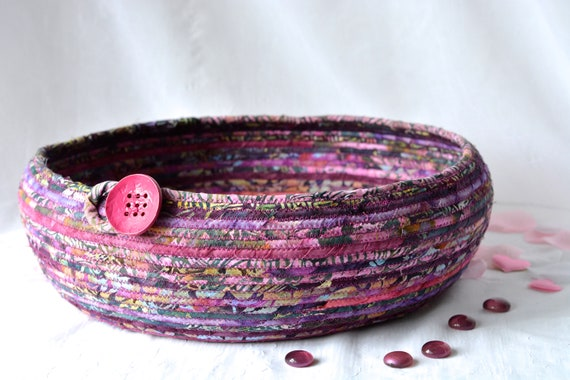 Violet Berry Basket, Storage Organizer, Handmade Fiber Art Bowl, Modern Cotton Pet Bed Furniture, Batik Fabric Rope Basket, Cat Bed