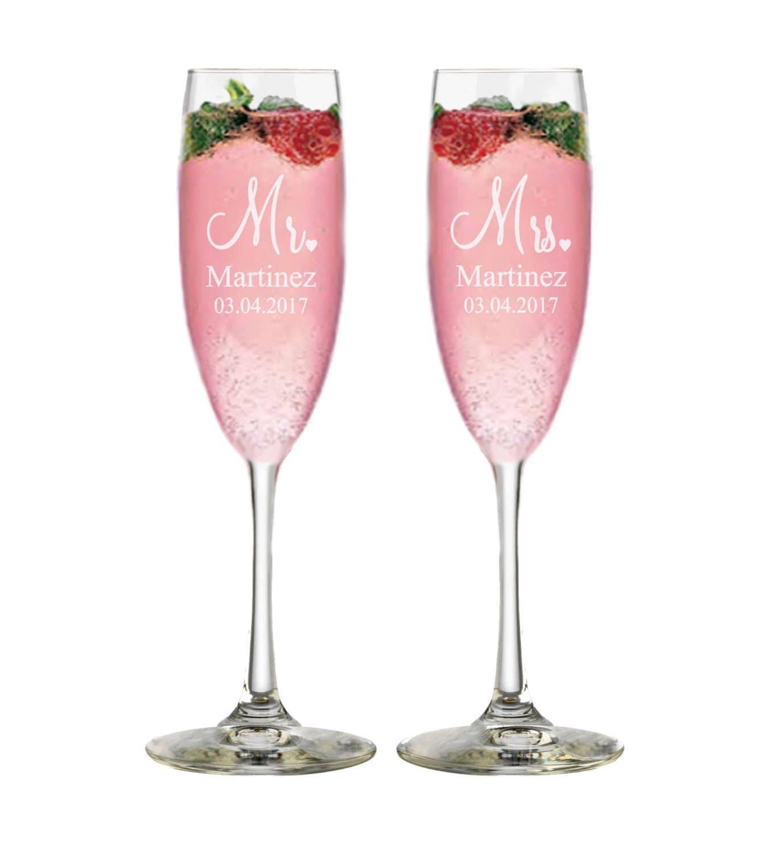 Bridal Shower Gift Champagne Glasses Custom Wedding Gift