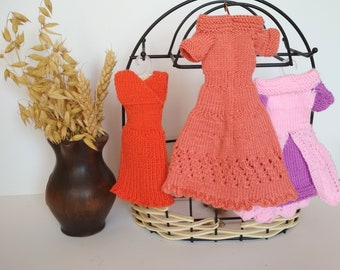 Set of 3 dresses, doll clothing, barbie fasion handknitted