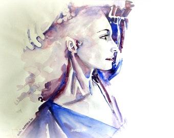 Portret van een vrouw. Originele aquarel.