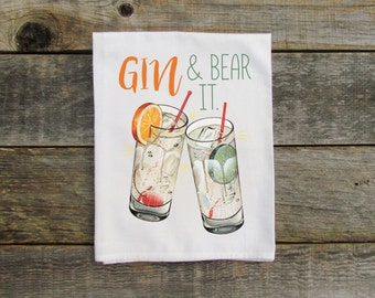 Gin and Bear It Dish Towel - Funny, Drinks, Gift