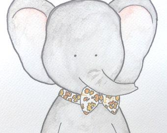 Dessin aquarelle bébé éléphant personnalisé