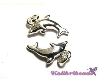 2 pc. Dolphins Charm 15 mm - Silver Plated Dolphin Pendant with Jump Ring