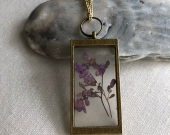 Dried flower botanical necklace, real preserved purple flower, terrarium style necklace