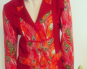 Jacket in Capulana, Lady Blazer, Womens clothing, coats, traditional African fabric, Handmade coats, Made in Portugal
