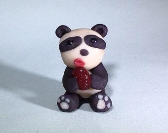 Panda Steals, Enjoys Doughnut // Polymer Clay Figurine // Gift for Panda People